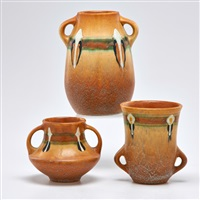 brown montacello two-handled vases (3 works) by roseville