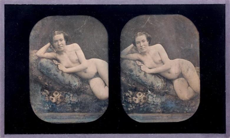 etude de nu femme nue allongée et accoudée sur un coussin study by joseph auguste belloc