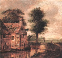riverside cottage with a figure crossing a footbridge beyond by gerrit van hees