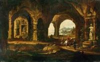 capriccio mit grotten und orientalischen reitern vor antiken standbildern by willem von bemmel