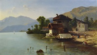 figure e case sul lago di como by giovanni battista lelli