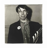 patriotic young man with a flag, n.y.c by diane arbus