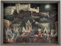 salzburg - freilichtspiele (wallensteins lager) auf dem kapitelplatz by franz rogler