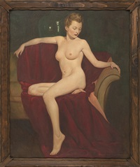 full-length portrait of a nude blonde woman sitting at the end of a sofa on a red velvet throw by john newton howitt