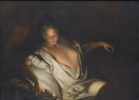 lady with an open décolleté reclining on a bed, lighting a candle by jean-baptiste santerre