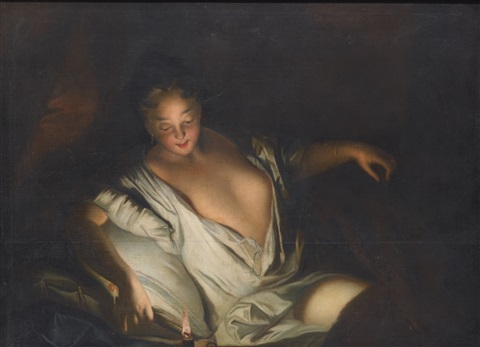 lady with an open décolleté reclining on a bed lighting a candle by jean baptiste santerre