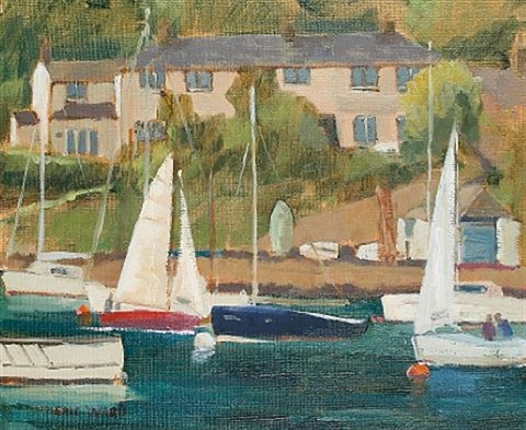 white sails on the helford 9 another 2 works by eric ward