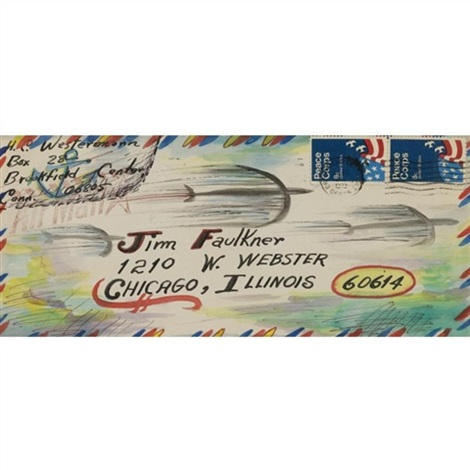 untitled envelope to jim faulkner by horace clifford westermann