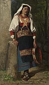 flicka med tamborin by karl georg arsenius