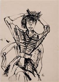 elegante dame mit kopfschmuck im korbsessel by joachim heuer