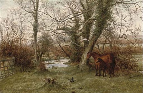 a mare and foul in a paddock beside a stream by joseph langsdale pickering