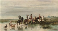 arabian riders fording a river by hendrik jan (hans) van wyk