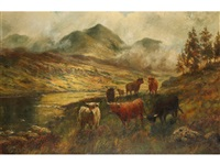 highland cattle beside a loch with mountains beyond by douglas cameron
