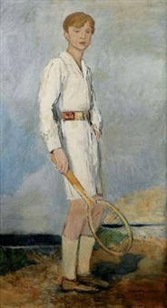 jeune homme à la raquette de tennis by auguste leroux