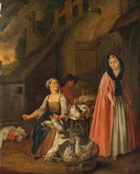 geflügelverkäuferin; fischverk äuferin (pair) by pieter angillis