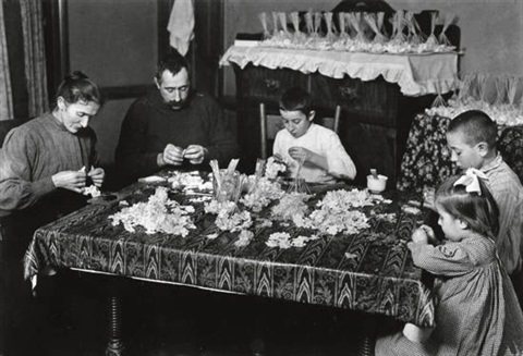 untitled family making flowers by lewis wickes hine