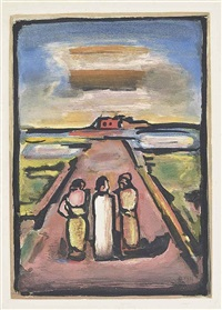 christ et disciples, from: the passion by georges rouault