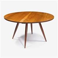 round turned-leg cherry dining table, 1957 by george nakashima