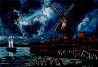 paesaggio olandese (mulino di wijk - da ruisdael) by carlo hollesch