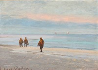 fishermen on skagen beach by carl ludvig thilson locher