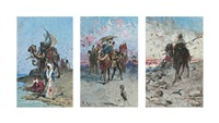 bedouins in the desert (set of 3) by raffaele resio
