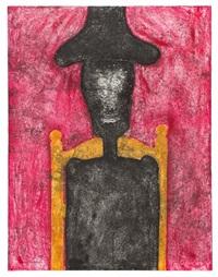 hombre negro en fondo rojo by rufino tamayo