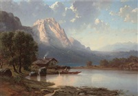 fishing in the lake in a mountainous landscape by adolf dressler
