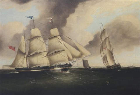 """the three-masted barque """"charles"""" in two positions off the north foreland, signalling for a pilot by duncan mcfarlane"""