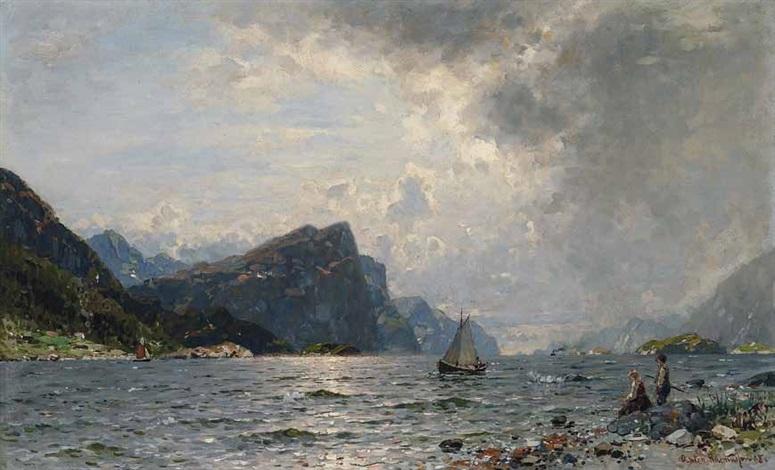 norwegischer fjord mit segelschiff by georg anton rasmussen