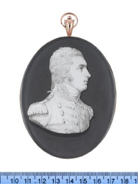 lieutenant colonel matthew merrick shawe, wearing coat with lace to the button holes, epaulettes, stock, his hair tied with a ribbon bow by samuel andrews