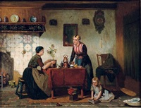 interior in the north of holland, tea-time by sipke (cornelis) kool