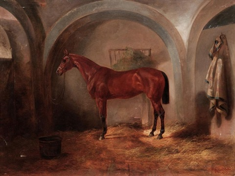a bay hunter in a stable by joseph heicke
