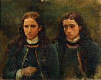 deux jeunes bretons (study for un grand pardon breton, 1869) by jules breton