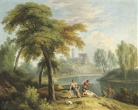 an italianate river landscape with classical figures at rest on a bank by andrea locatelli