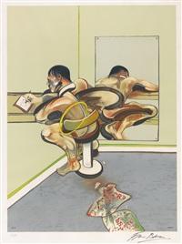 homme écrivant reflété dans un miroir (sabatier13) by francis bacon