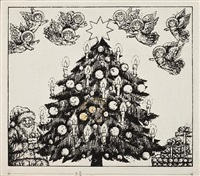 x (xmas tree)(illustration for a is for angel) by benito (beni) montresor