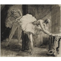sylphides (+ dancers backstage; pair) by sir daryl ernest lindsay