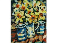 daffodils and blue pots by olivia pilling