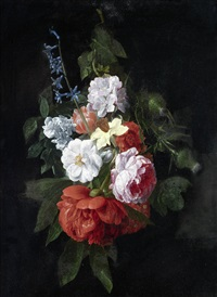 a bouquet of roses, thistles, narcissi and other flowers by nicolaes van veerendael