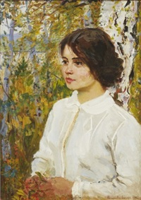 portrait of a girl by nikolai petrovich bogdanov-bel'sky