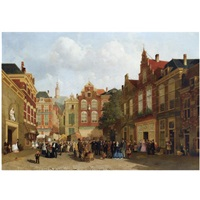 the daily market on the groenmarkt with the st. jacobskerk in the back, the hague by joseph bles
