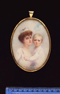 a double portrait of h.r.h. princess maud of norway with her son crown prince olav, she wears jewelled tiara, pearl necklace and jewelled choker by gertrude massey
