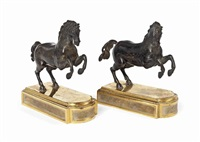 models of rearing horses (pair) by francesco fanelli