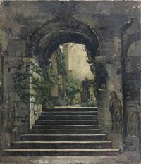 entrée d'un cloître roman by jules bertrand gélibert