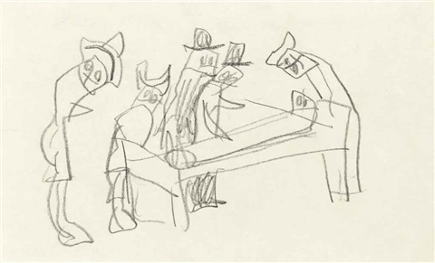 hospital bed recto and verso by lyonel feininger