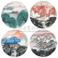 风光四景 (landscape) (4 works) by ji ren