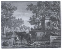 cows grazing near a wooded landscape by anthony andriessen