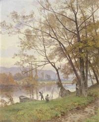 pêcheurs dans un paysage du doubs by marie-victor-emile isenbart