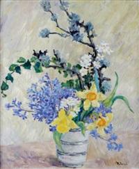 vase aux cerisiers en fleurs et aux jonquilles by marie-lucie nessi-valtat