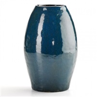ovoid vase in blue glaze, luther, nc by oscar louis bachelder